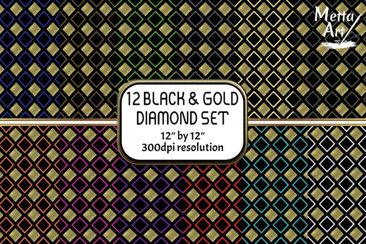 12 Seamless Pattern - 12 x 12 Black and Gold Diamond Set