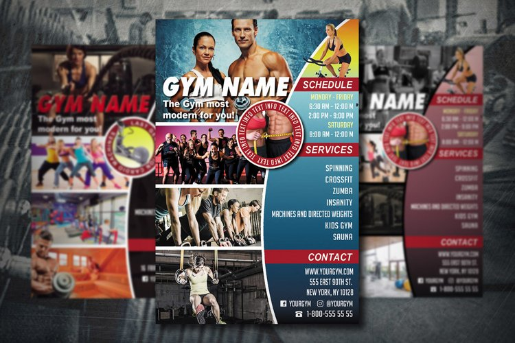 GYM FLYER TEMPLATE | Gym Club Template | Photoshop Template example image 1