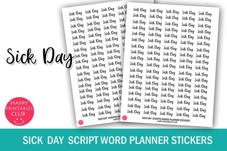 Sick Day Script Words Planner Stickers- Sick Day Stickers example image 1