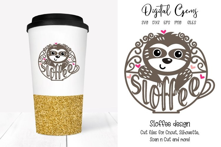 Sloth, sloffee, coffee design SVG / DXF / EPS / PNG files