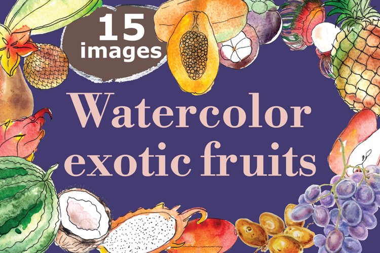 Watercolor exotic fruits example image 1