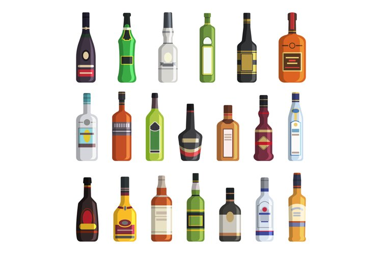 Liqueur, whiskey, vodka and other bottles of alcoholic drink example image 1