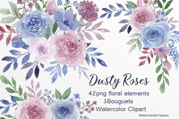 Watercolor dusty roses. Dusty pink and blue flowers clipart.