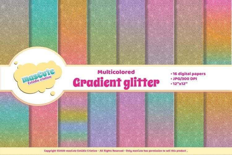 Digital Paper Pack - Gradient Glitter example image 1