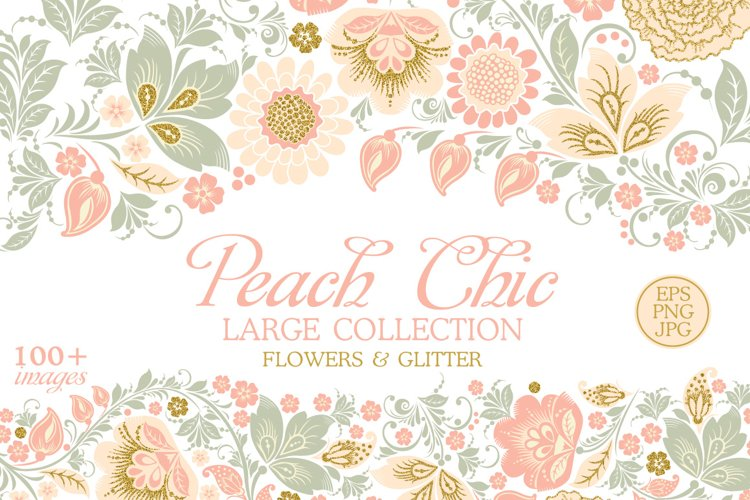 Glitter Floral Peach chic collection. 50% off example image 1