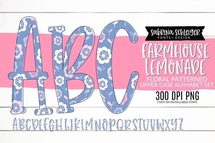Farmhouse Lemonade PNG Alphabet Clipart Floral Doodle Letter