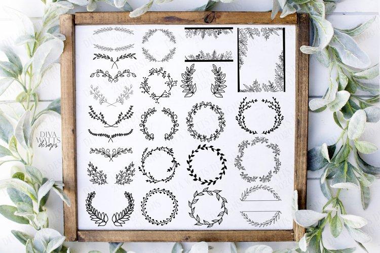 25 Farmhouse Elements Wreaths Swags Laurels SVG PNG Bundle example image 1