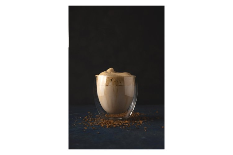 Dalgona coffee at home beautiful drink serving in a coffee h example image 1