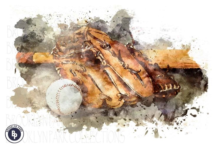 Watercolor Baseball Art Design, Sublimation PNG