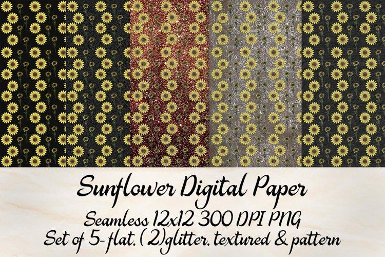 Sunflower Digital Paper Set example image 1