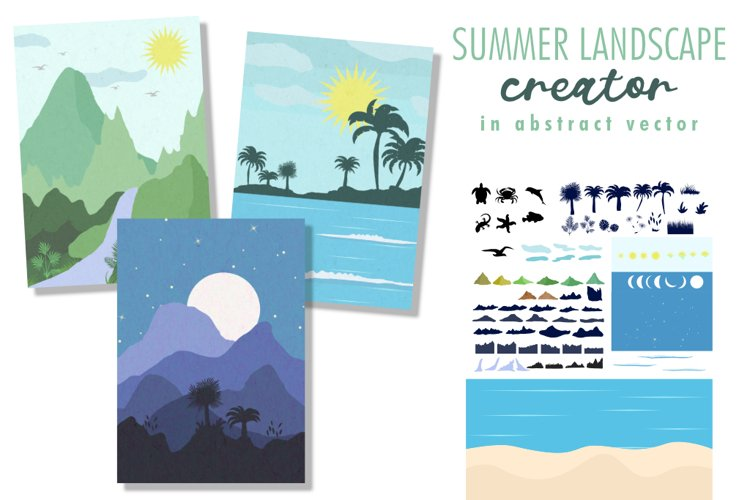 Summer landscape creator in abstract vector. example image 1