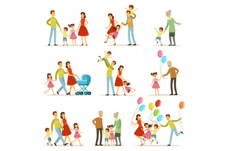 Big happy family with mother, father, grandmother and grandf example image 1