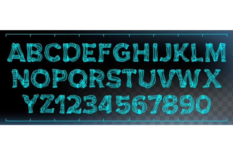 X-ray Font Vector. Transparent Roentgen Decorative Alphabet.