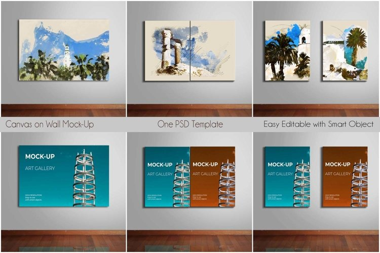 Canvas on Wall Mock-Up | One PSD Template example