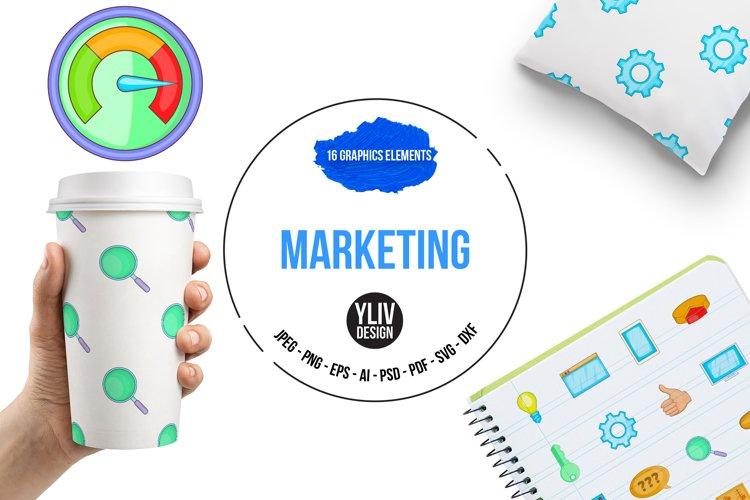 Marketing icons set, cartoon style example image 1