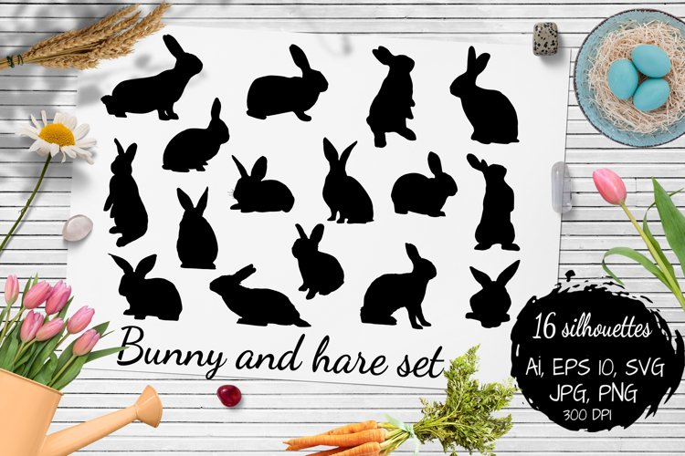 Bunny/ hare/ rabbit silhouette collection. 16 Svg, Png, Jpg