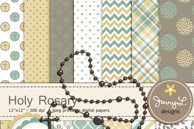 Rosary Digital Papers and Clipart, Baptism, First Communion, Confirmation, Christening, Dedication, Religious, Cross Holy Week Scrapbooking Paper example image 1