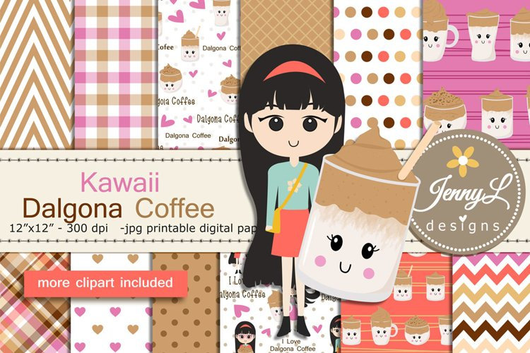Kawaii Dalgona Coffee Digital Papers and Clipart example image 1