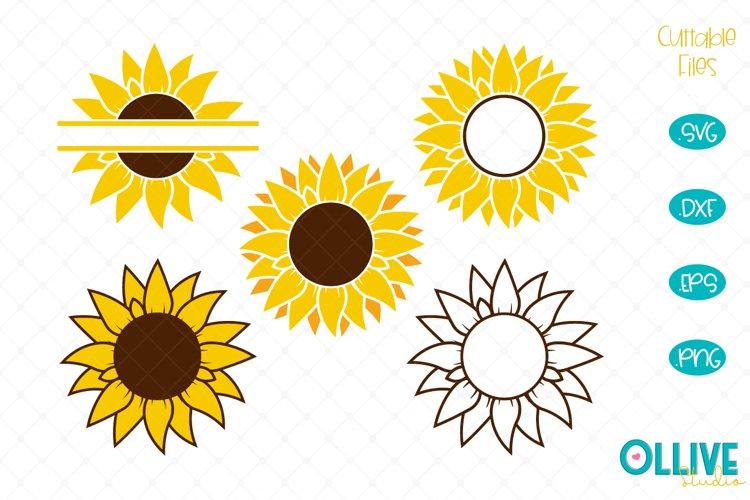 Sunflower Monogram SVG Bundle example image 1