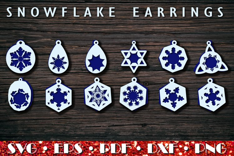 Christmas earrings SVG, Snowflake Earrings example image 1