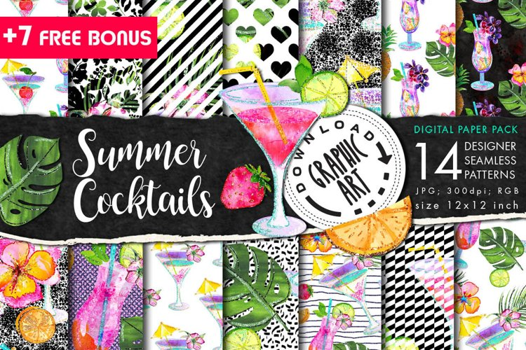 Summer Cocktails Seamless Pattern example image 1