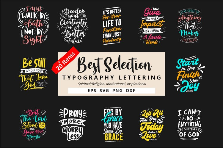 Best Typography Lettering Quotes Bundle, Eps Svg Png Dxf example image 1