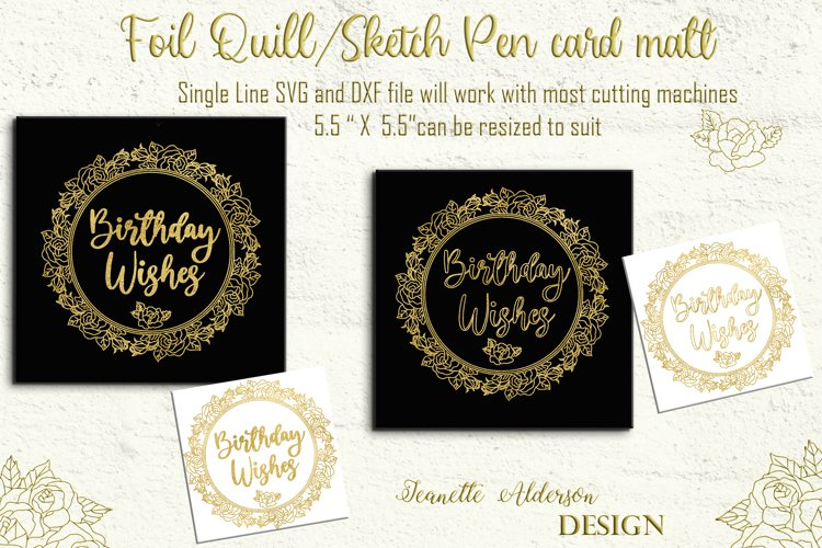 Single Line Foil quill sketch pen Rose Wreath with greeting