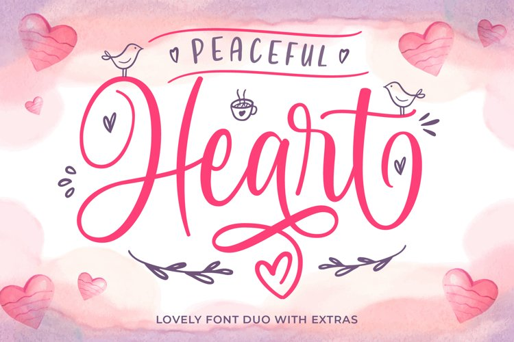Peaceful Heart - Lovely Font Duo! example image 1