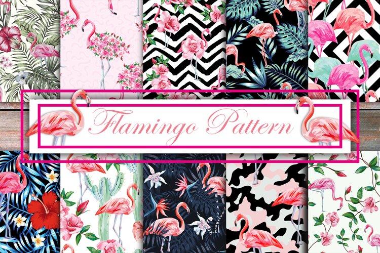 Tropical birds pink flamingo seamless design