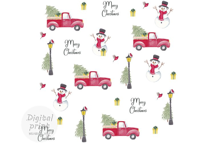 Farm fresh christmas trees digital paper Red old car Snowman example image 1