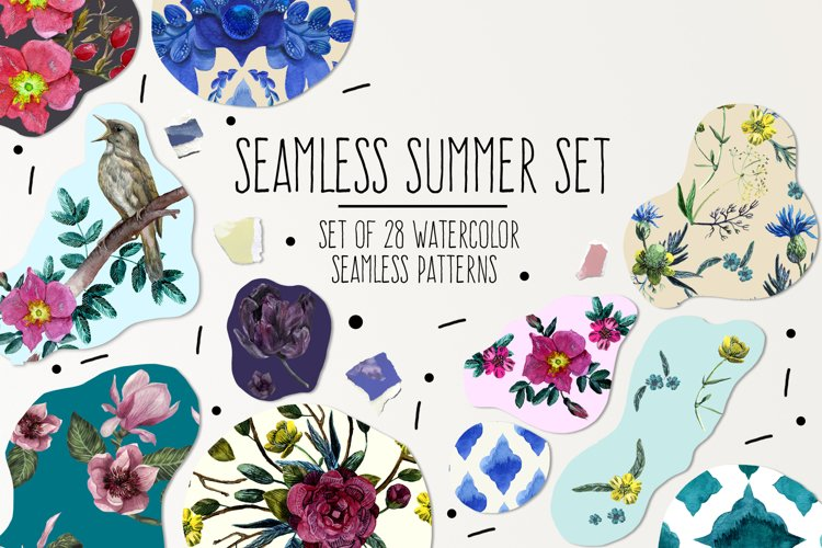 Seamless Summer Watercolor Patterns Set example image 1