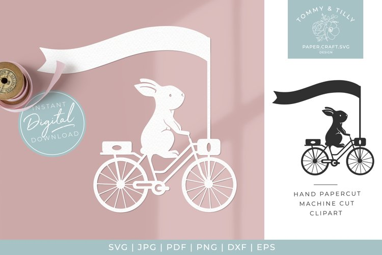 Rabbit with Banner - SVG Papercut Cutting File example image 1