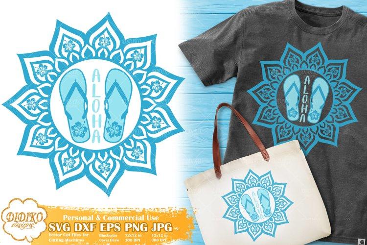 Mandala Flip Flops SVG, Aloha SVG, Beach Vacation Svg Png example image 1