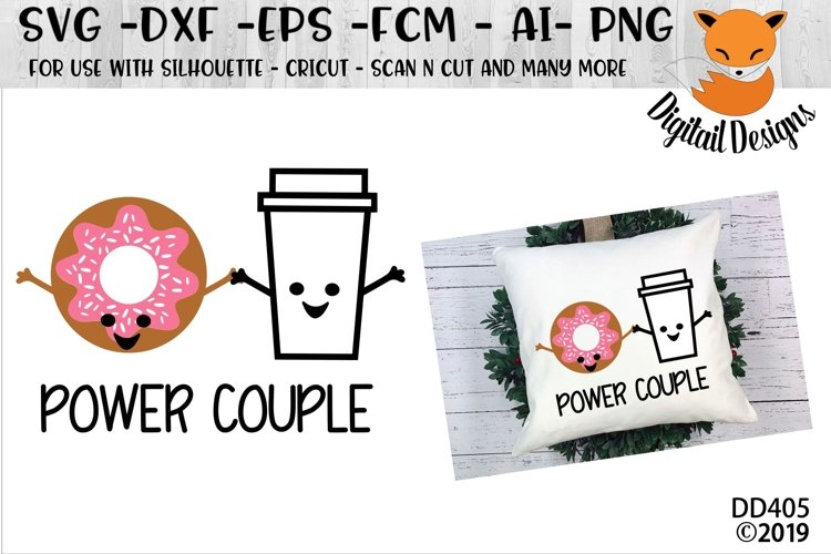 Coffee and Donut Power Couple SVG example image 1