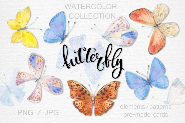 Butterflies. Watercolor collection. example image 1