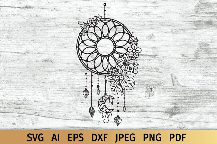 Dream Catcher SVG with Flowers   Boho SVG