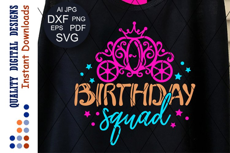 Birthday squad svg saying Princess carriage clip art
