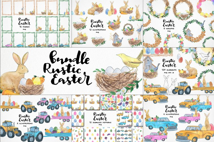 watercolor easter clipart, easter rabbit png, easter eggs example image 1