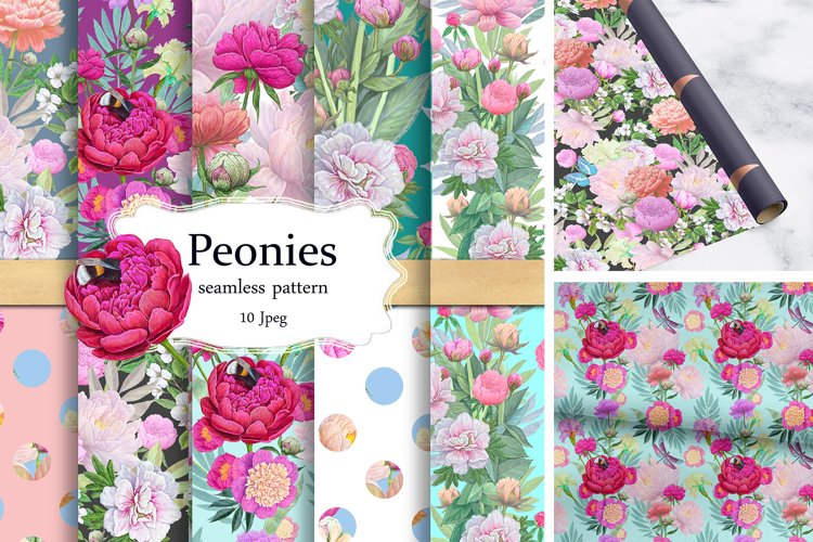 Peony Seamless pattern Floral Scrapbook Floral Digital Paper