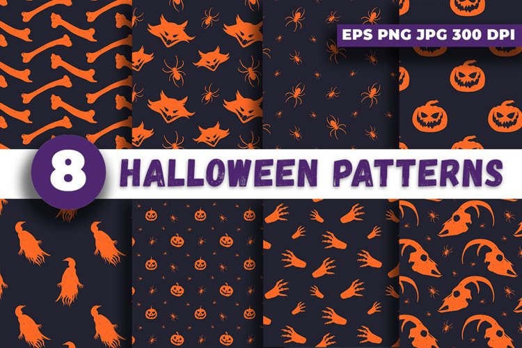 8 High Quality HALLOWEEN PATTERNS EPS PNG JPG