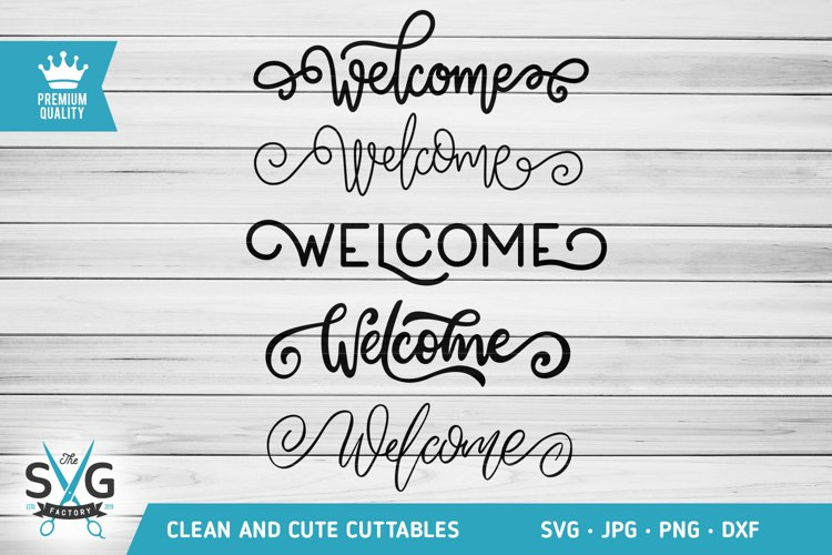 Welcome word text set of 5 SVG cutting file example image 1
