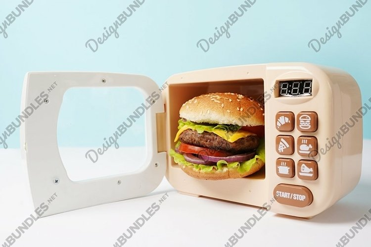 Delicious burger in small microwave on blue background