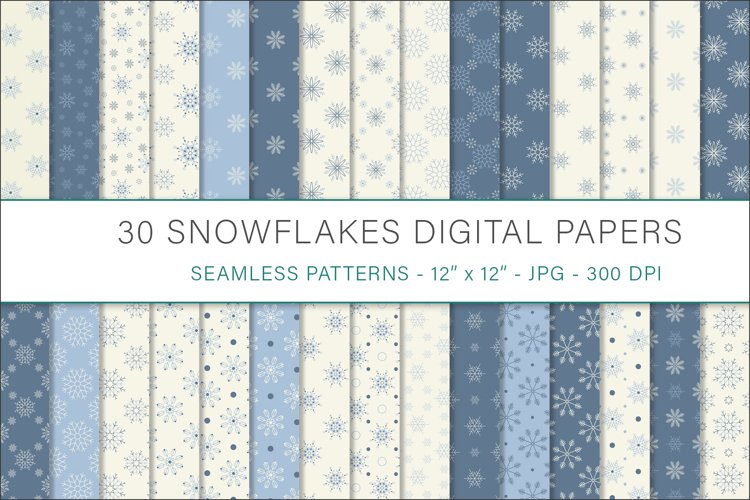 Snowflakes digital papers - 30 Seamless Designs example image 1