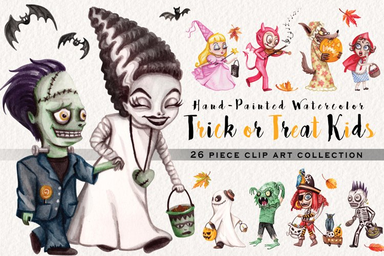 Watercolor Trick or Treat Kids example image 1