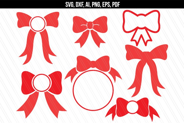 Bow monogram svg dxf cutting files example image 1