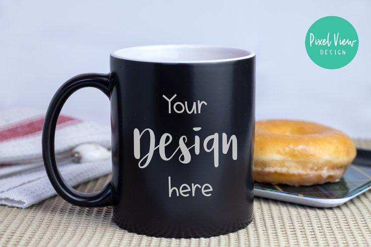 Black Coffee Mug with Donut