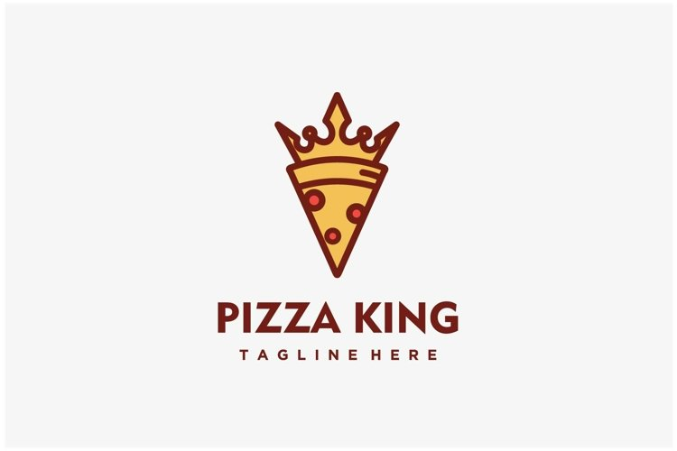 Pizza king crown combination logo design inspiration example image 1