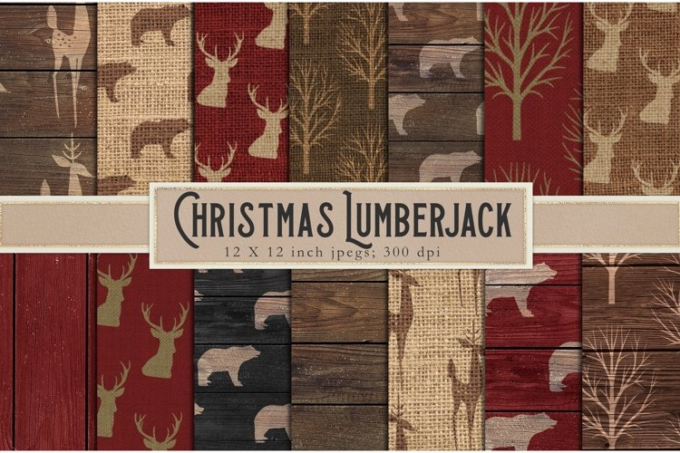 Christmas lumberjack digital paper example image 1