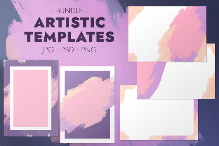 Artistic templates with brush strokes in matte pastel colors