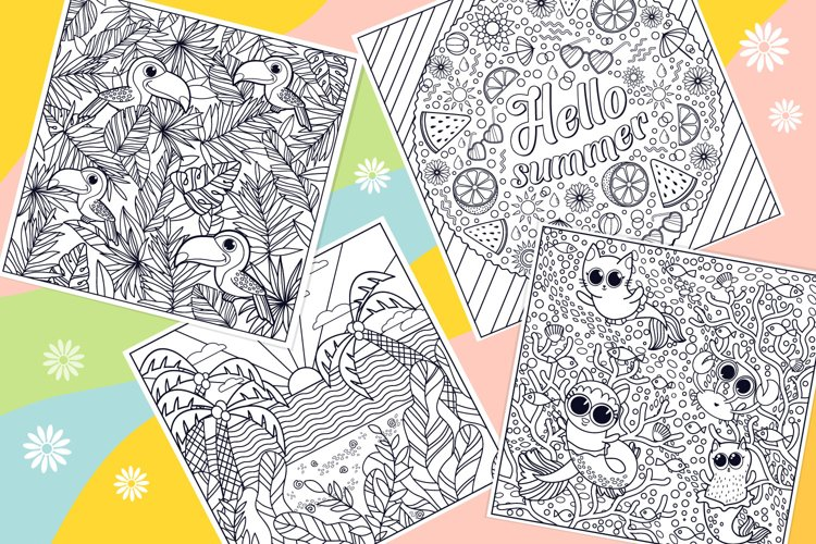 Summer Coloring Page Bundle- 10 vector items example 4